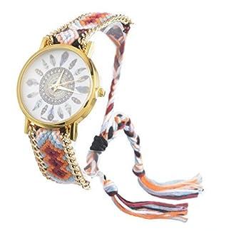 Souarts-Damen-Geflochten-Armbunduhr-Jugendliche-Mdchen-Armreif-Uhr-mit-Batterie-Zifferblatt-Mehrfarbig