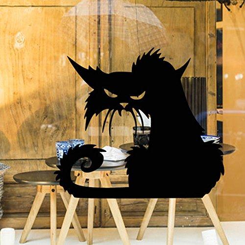 MMilelo 1 Pack 3D Creepy Cat Halloween Wandaufkleber 42x37cm Halloween Wandsticker Abnehmbarer Boden und Wand Wasserdichte Dekoration für Halloween Party (Halloween Cupcakes Ideen Coole Für)