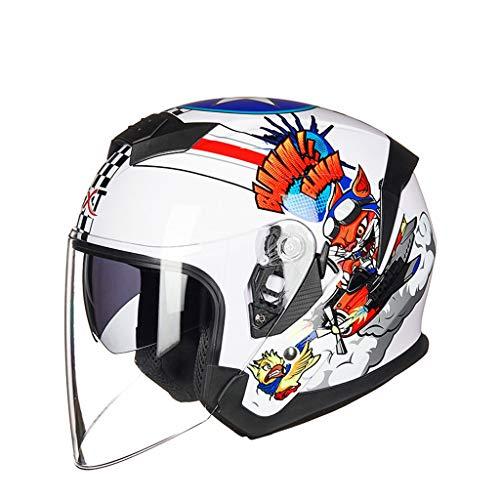 ZJJ Helm- Halbüberdachter Helm, Unisex-Helm, Regen- und UV-Schutzhelm, Doppellinse (Farbe : Weiß, größe : XL)