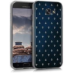 kwmobile Funda para Samsung Galaxy A5 (2017) - forro de TPU silicona cover protector para móvil - Case Diseño Anclas blanco azul oscuro