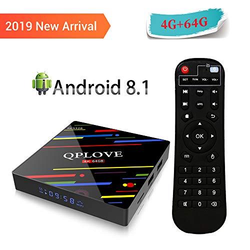 QPLOVE Max+ Android 8.1 TV Box 4GB RAM 64GB ROM RK3328 Quad Core/H.265/ LAN 100/ WiFi 2.4+5.0GHz/ BT 4.0/ H.265/HDR Unterstützt 3D 4K Full HD mit Fernbedienung