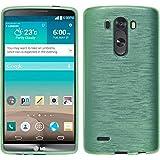 PhoneNatic LG G3 Hülle Silikon grün brushed Case G3 Tasche + 2 Schutzfolien
