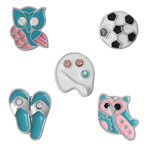 Souarts Fixed Mixed Silver Color Owl Football Slippers Floating Charms for Glass...