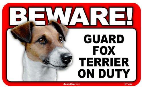 Warnschild mit Hochglanz Bild. BEWARE! Guard FOX TERRIER on Duty ca 20 x 12 cm