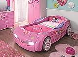 Cilek BiTURBO Autobett Kinderbett Bett Rennfahrerbett Pink, Matratze:mit