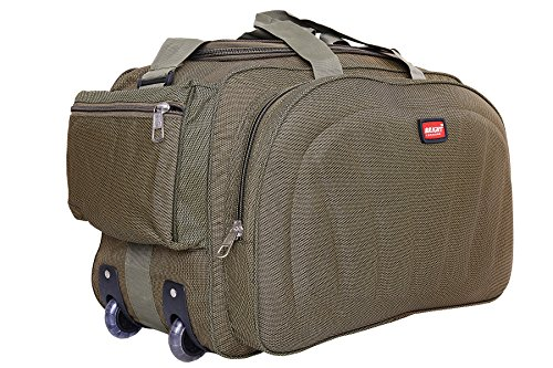 Lightweight Waterproof Luggage Travel Duffel Bag with Extra Compartments & Roller wheels - Khadi Green