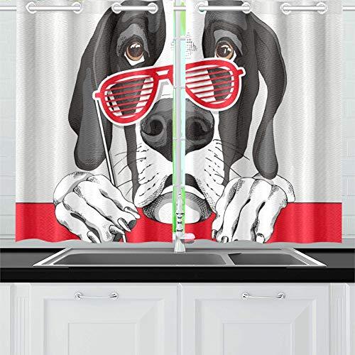Sammlung Kostüm Bad - JIUCHUAN Dogge Dog Red Grill Gläser Küche Vorhänge Fenster Vorhang Stufen für Café, Bad, Wäscherei, Wohnzimmer Schlafzimmer 26 X 39 Zoll 2 Stück