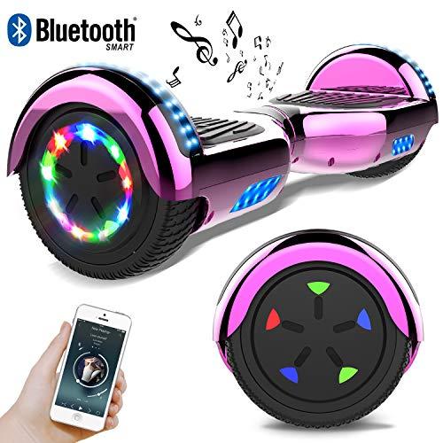 RCB Scooter Elettrico 6.5 inch con LED Bluetooth su ruote brillante Auto bilanciamento 6.5\'\' Lampeggianti Bluetooth per Adulti e Bambini