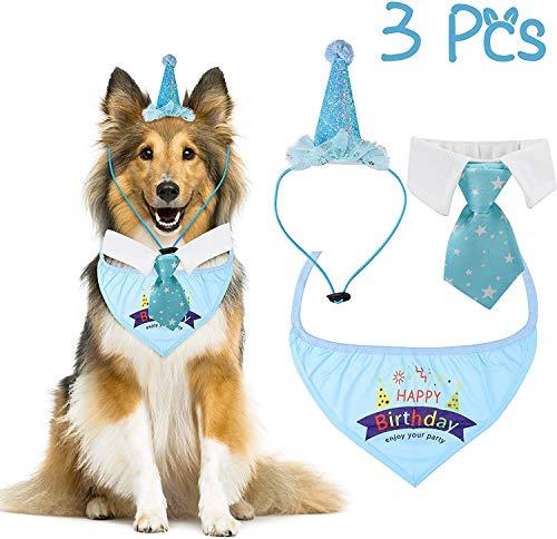WATINC 3 Stück Pet Hunde Geburtstag Kostüm Kawaii Bandana Kragen Dreieck Schals Partyhut Krawatte Hundehalstuch Stilvolle Halsbinde Schlips Hat Dekor für Mittelgroße und Große Haustiere Hund Katze, L -