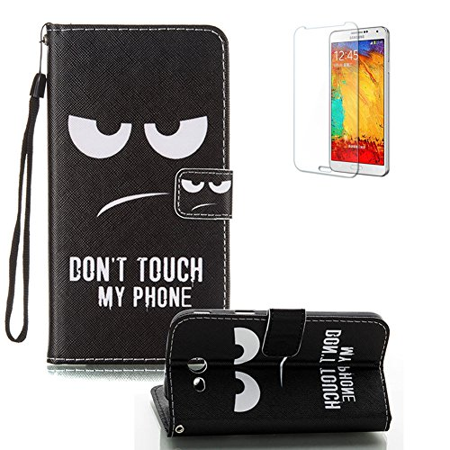 For Samsung Galaxy J3 Prime Case [with Free Screen Protector], Funyye Premium PU Leather Wallet Case Stand Book Type Style Cover with [Lanyard Strap] and [Credit Card Holders Slots] Flip Folio Magnetic Detachable Button Protective Case Cover for Samsung Galaxy J3 Prime - Black Eye