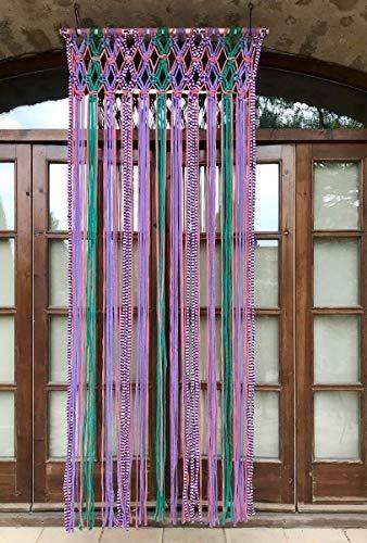 cortina de macramé multicolor Rosa y Azul