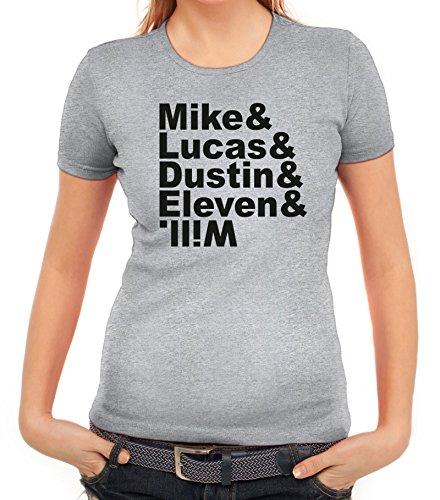 Mystery Damen T-Shirt mit Mike Lucas Dustin Eleven Will Motiv von ShirtStreet Graumeliert