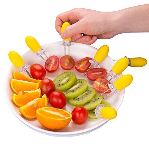 51YK8K TggL - ZeWoo Set von 12 Maiskolbenhalter Grillzubehör Edelstahl Nadel Schaschlikspieße Food Fruit Forks