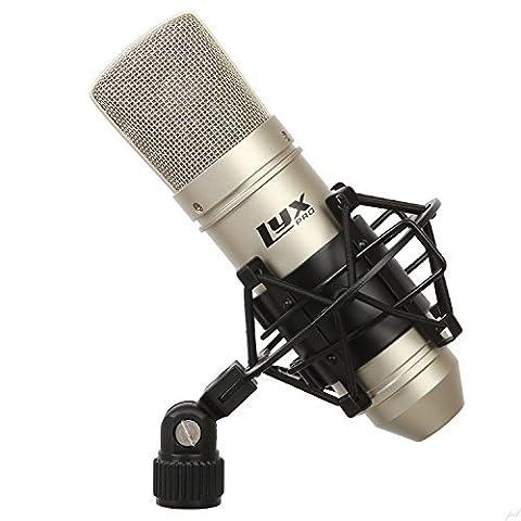 Microphone de studio à condensateur cardioïde LyxPro LDC-10 avec suspension et câble pour un enregistrement professionnel à la maison