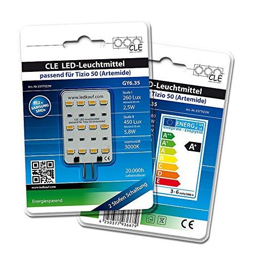 LED Ersatzleuchtmittel für Artemide Tizio 50 12V GY6.35 3000K 6 Watt (50 Watt) -