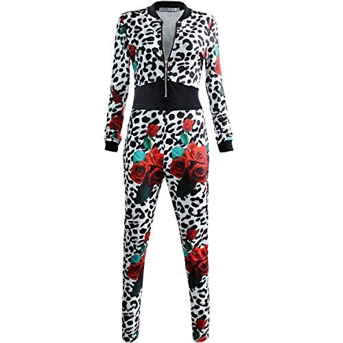 FANCYINN Damen Jumpsuit Lang Hosen V Ausschnitt Overall Party Abendmode Leopard Print