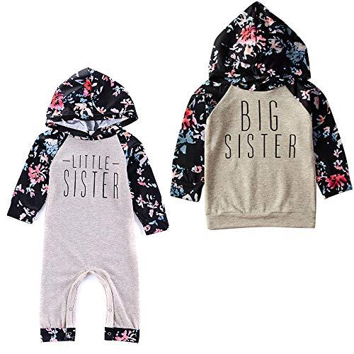 Puseky Baby Mädchen große kleine Schwester passende Outfit Floral Hoodie Sweatshirt Top Strampler Jumpsuit (Color : Grey, Size : Little Sister-0-6M) - Große Passende Schwester Kleine Schwester