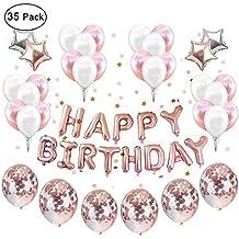 Anniversaire Filles Partie Ballons Décoration Or Rose, Set 12 pouces  Confettis Décoration Articles Party Kit