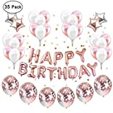 IEONGI Geburtstag Party Ballons Dekoration Rose Gold, Set 12 Zoll Konfetti Dekor Party Lieferungen Party Kit Banner einstellen Star Mylar S¨¹?