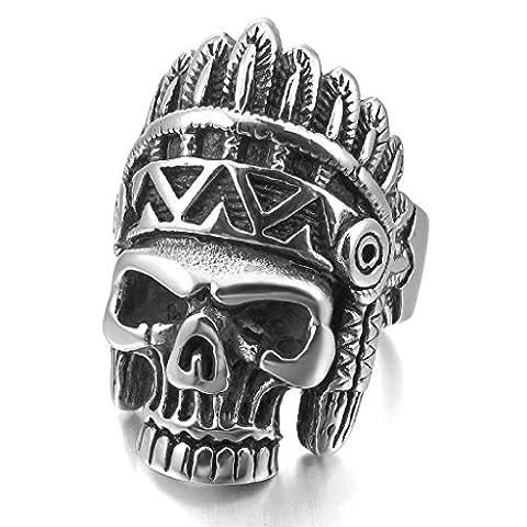 Epinki,Men's Large Heavy Stainless Steel Rings Silver Black American Skull Vintage Biker Size Z 1/2
