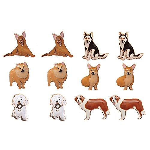 Lola Bella Gifts Damen 6 Paar Hund Thema Ohrringe mit Geschenk-Box -