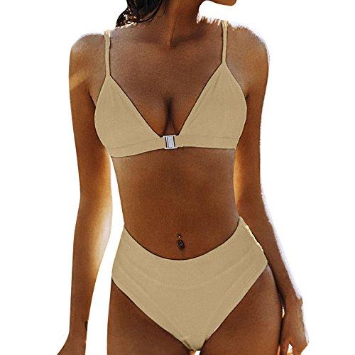 LCLrute 2018 New Wire Free Front Buckle Sling Swimsuit Solid High Waist Bikini Set Two Piece Swimsuit Swimwear Beach Suit (XL, Khaki)