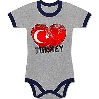BZ19 Baby Ringer Bodysuit Body Strampler Säugling Kontrast – EM 2016 Frankreich Babys – Turkey Herz Grunge