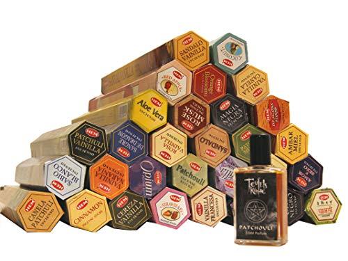 HEM Räucherstäbchen Set Mega Sparset. 30 verschiedene Packungen und ein Patchouli Parfum -