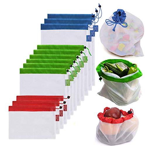 DoDoLar Obstbeutel und Gemüsebeutel Wiederverwendbare Gemüsenetz Umweltfreundliche Mehrwegbeutel Einkaufstaschen aus Kunststofffreiem Polyester(12er Set) -