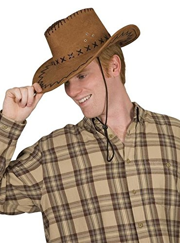 Cowboyhut rehbraun für Cowboy Kostüm Lederimitat für Erwachsene