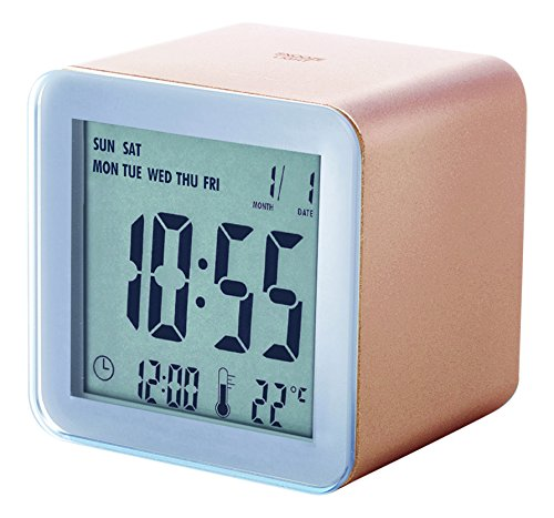 Lexon Clock Cube Abs Rubber Sensor Snooze - EL Light Wecker, Gummi, kupferfarben, 5.5x5.5x5.5 cm