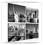 decomonkey Bilder New York 40x40 cm 4 Teilig Leinwandbilder Bild auf Leinwand Vlies Wandbild Kunstdruck Wanddeko Wand Wohnzimmer Wanddekoration Deko Architektur Stadt City