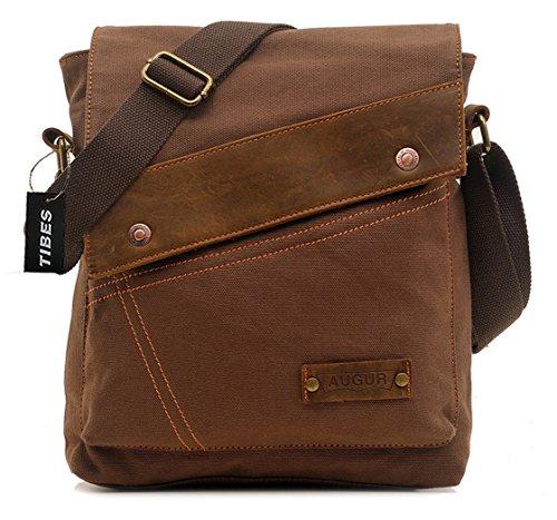 Tibes Segeltuch Schulter Beutel beiläufige Messenger Bag Outdoor Cross-Body-Tasche für Männer Kaffee