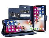 MyGadget Flip Case PU Cuir Support pour Apple iPhone X/XS Coque Fermeture magnétique - Portefeuille Ultra Fin & Léger - Housse Anti Choc Bleu
