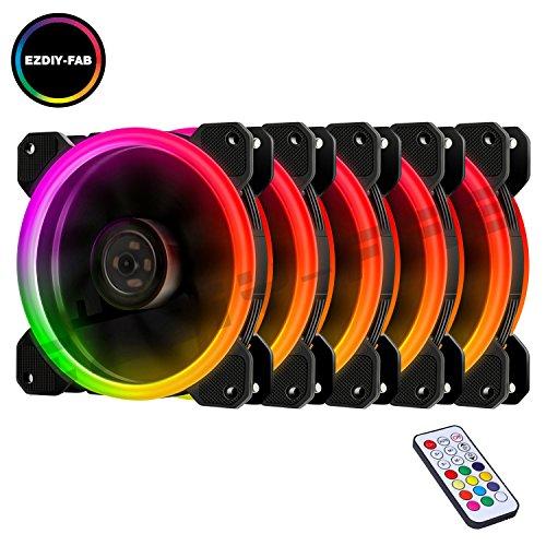 EASYDIY 5-Pack 120mm Computer Case PC Lüfter, RGB LED Leise High Airflow Farbe einstellbar LED Fan, CPU Cooler und Heizkörper Halterung Intel AMD DIY Mod AM4rrzen, mit RF Remote Kontrolle