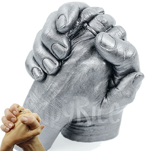 Adult 3D Handprint Hands Cast Life Casting Kit, Pewter - Wedding Anniversary Valentines Engagement Pre-Bereavement Family Gift - by BabyRice