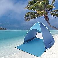 Edited - Tenda da spiaggia leggera, automatica, portatile, con struttura autoportante, protezione dai raggi UV, per 2/3 persone, colore: blu