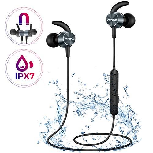 Mpow S15 Bluetooth Kopfhörer In Ear, IPX7 Wasserdicht Sport Kopfhörer, 8-10 Stunden Spielzeit/Hochauflösendes Klang, Magnetisches Headset mit Mikrofon, Sportkopfhörer Joggen/Laufen für iPhone Android
