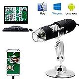 Microscopio digital Pawaca 50X a 1000X, portátil HD 8LED USB Ampliación Endoscopio, Mini Cámara con soporte profesional compatible con Mac Windows XP 7 8 10 Android4.2 y superior, color negro