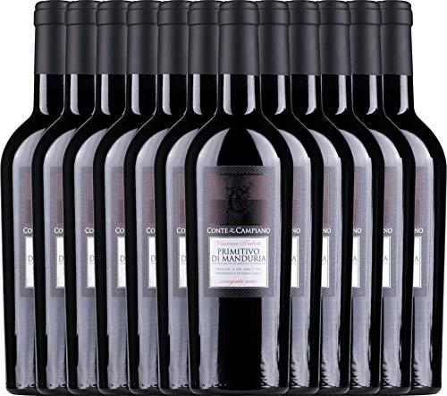 VINELLO 12er Weinpaket Primitivo - Primitivo di Manduria 2017 - Conte di Campiano mit Weinausgießer | halbtrockener Rotwein | italienischer Wein aus Apulien | 12 x 0,75 Liter