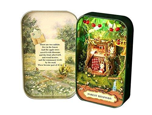 MIMOO Diseño Divertido 3D DIY Theater Box Miniatura Caja de LED Casa para Niños Chica Juguete Mini Secret World en la Caja de Lata ( Color : Forest Rhapsody )