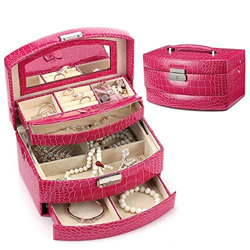AYHa Jewellery Box Organizer, Jewellery Box Jewellery Armoire Halskette Ring Armband Aufbewahrungshalter Vintage Case Geschenk 22Cm X13Cm X12Cm für Ringe Ohrringe Halskette,rot,Einheitsgröße