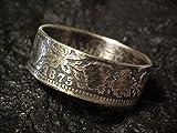 Coinring, Münzring, Ring aus sehr alter Münze (1 Mark Deutsches Kaiser-Reich 1875), 900er Silber - Double Sided coin ring - Größe 57 (18.1), handgeschmiedetes Unikat