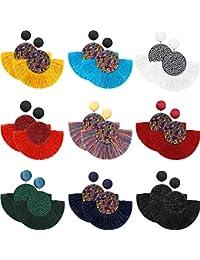 9 Pares de Pendientes de Aro de Borlas Pendientes de Flecos en Forma de Abanico Bohemio Pendientes de Orejas con Colgantes para Mujeres Chicas Accesorios de Vestido Bohemio de Fiesta