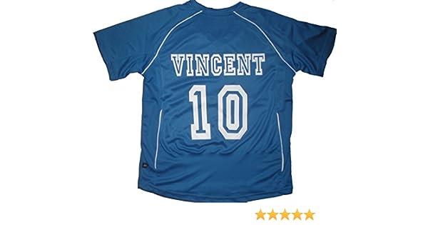 4d1f6f2d9ce49 PATOUTATIS - t-shirt - maillot foot personnalisé avec prénom et numéro de votre  choix - manches courtes col V - JN386K - Bleu - enfant taille M - 122 128  ...