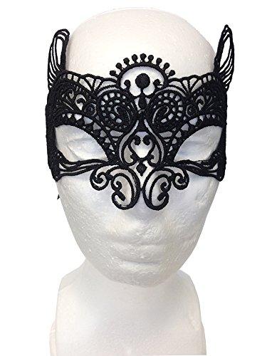 Máscara Seductora de Encaje para Fiestas de Disfraces, Sorprenda de forma discreta, al mismo tiempo que parezca estar maquillada de color negro (Cat Woman Lace Mask)