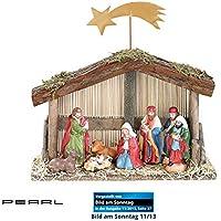 PEARL Weihnachtskrippe: Weihnachts-Krippe (10-teilig) mit handbemalten Porzellan-Figuren (Weihnachtskrippe Figuren)