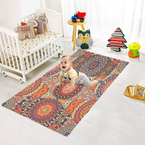 WYYWCY Antiguo Mandala Floral Estilo Tribal Rompecabezas de Espuma Estera de Piso para Bebé Azulejos de Piso de Espuma Entrelazados 8 Piezas 60 X 60 X 1.2cm Azulejos de Rompecabezas de Espuma