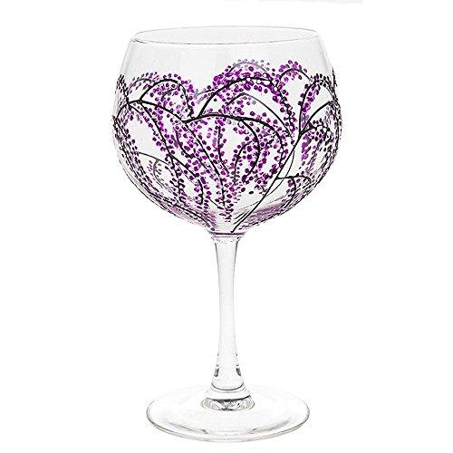 Sunny By Sue Großes Gin&Tonic-Glas, handverziert mit verschiedenen Motiven, Füllmenge 600 ml Japanese Garden Purple & Black