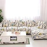 HYSENM 1/2/3/4 Sitzer Sofabezug Sofaüberwurf Stretch weich elastisch farbecht Blumen-Muster, Löwenzahn 4 Sitzer 235-300cm